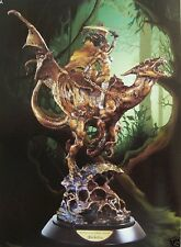 "Franklin Mint Bronze Dragon Warrior Princess +Sword Rides Dragon PRISTINE 13"""
