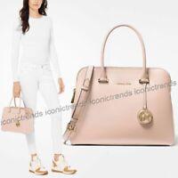 NWT 🌸 Michael Kors Houston Double Zip Crossgrain Leather Satchel Soft Pink Gold