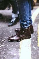 Custom Mens Simple 3 buckles Monk Straps Genuine Leather Boots, Men footwear