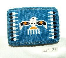 "Belt Buckle Native American Beadwork Blue Thunderbird 3.5x2.5"" New #27"