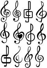 LOT 12 DIFFERENT MUSIC NOTES CLEFS TREBLE VINYL DECAL STICKER DESIGN