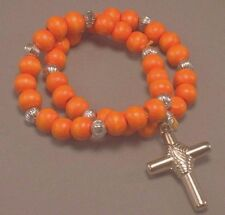 Christian Prayer Bracelet DOUBLE LOOP Wood Bead Silver Tone Cross ORANGE Gift!