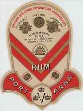 """""""RUM PORT-ANNA / Ets R.P.A Cognac"""" Etiquette-chromo originale début 1900"""