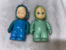 Vtg Pair of Little Tikes Dollhouse TWINS Green, Blue BABIES Infant 2 Figures~HTF