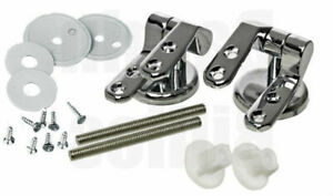 Chrome Toilet Seat Hinges Spare Universal Silver Replacement with Fittings