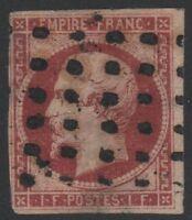 "FRANCE STAMP YVERT 18  SCOTT 21 "" NAPOLEON III 1F LAKE 1853 "" USED F SIGNED C857"