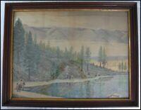 Apache? Camp Antique 1872 T Davenport Watercolor Native American Lake Landscape