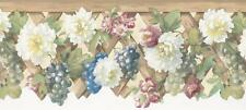 Wallpaper Border White & Pink Flowers Floral with Green & Blue Grapes on Lattice