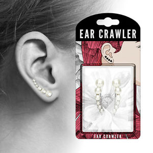 PAIR of Lined White Pearls Ear Crawler / Climber 20g Earrings