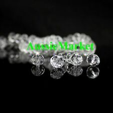 30 x crystal glass loose beads clear rondelle faceted prism 8mm x 10mm jewellery