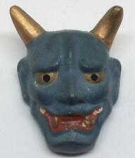 Antique vtg Chalkware blue devil Devil's head amulet fur pin brooch Satan hatpin
