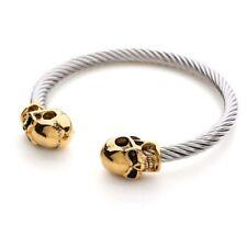 Alexander McQueen Inspired bracelet Gold Tone Double Skull Bracelet