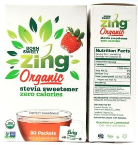 2 Count Domino Foods Born Sweet Zing Organic Stevia Sweetener 2.8oz BB 12-6-2022