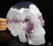 "AMAZING LIFESIZED 6.8"" AMETHYST & AGATE Carved Crystal Skull, Crystal Healing"