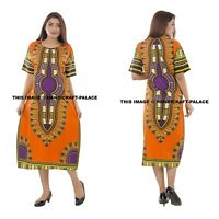 Boho Traditional African Vintage Print Dashiki Tunic Festival Party Long Dress