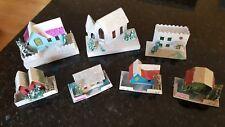 Vintage Set of 7 Putz Mica Glitter Houses Japan Xmas/Tree/Town/Village