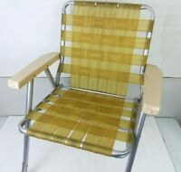 Vintage Webbed Yellow Folding Aluminum Vintage Lawn Chair