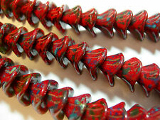 12 beads - Red Travertine Czech Glass 3 petal Flower Beads 10mm