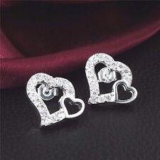 womens heart on heart clear cubic zirconia stud earrings 925 sterling silver