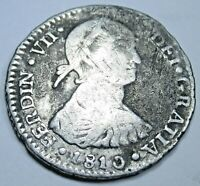 """1810 JP Lima Peru Silver 1 Reales """"Imaginary Bust"""" Antique Spanish Colonial Coin"""