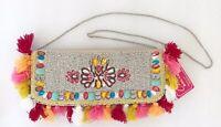 Tassel Fringe Rhinestone Clutch Bag Crossbody Handbag Chain Strap Boho NWT