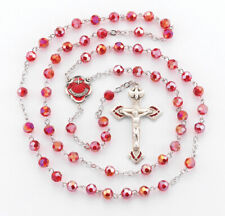 Holy Spirit - Pewter red enamel Center + Crucifix + 6 mm Red Crystal Rosary