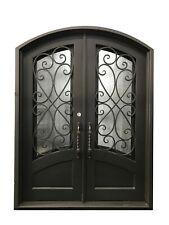 "Azle Double Front Entry Wrought Iron Door Rain Glass 72"" x 96"" Left Active"