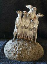 Aus-Ben Studios Vintage Meerkats hand painted on Bronze Collectable