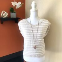 Rebecca Taylor Sz XS Open Back Short Sleeve Sweater striped Cream White