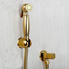 Brass Gold Toilet Handheld Bidet Sprayer Cloth Diaper W/Shut off Valve Set  New