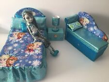 Barbie Or Disney Dolls.furniture Bedroom Set:Bed,sofa,lamp,woodbox:Frozen Elsa