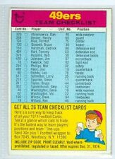 49ers Team Checklist Unmarked 1974 Topps Football Game Card '74 EX+