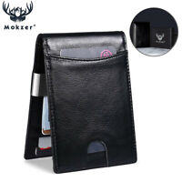 Real Leather Slim Wallets Men Money Clip RFID Blocking Card Holder Mens Wallet