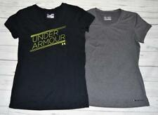 LOT 2 Womens M Medium UNDER ARMOUR HeatGear Athletic Tops T-Shirts Fitted Semi
