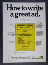 1969 Yellow Pages Directory 'How to write a great ad.' vintage print Ad