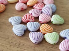 100 ACRYLIC MIXED COLOUR HEART BEADS 10 X 11MM Childrens Craft-Jewellery Making