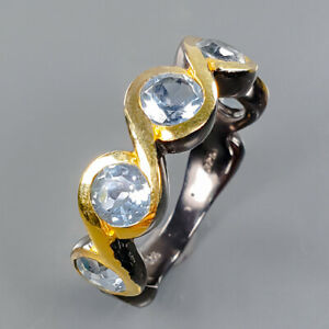 One of a kind Blue Topaz Ring Silver 925 Sterling  Size 7.5 /R177830
