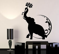 Vinyl Wall Decal India Elephant Lotus Flower Moon Buddhism Stickers (1171ig)
