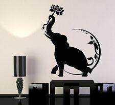 Vinyl Wall Decal India Elephant Lotus Flower Moon Buddhism Stickers (1171ig)