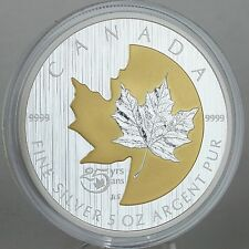 Canada 2013 $50 25th Anniversary SML 5 oz. Pure Silver, Selective Gold Plating