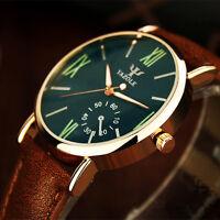 Men's Date Fashion Leather Stainless Steel Sport Quartz Noctilucent Wrist Watch