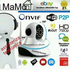 TELECAMERA IP CAMERA HD 720P WIRELESS LED IR LAN SUPPORTO TELEFONICO INGRESSO SD