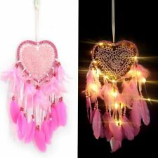 LED String Light Dream Catcher Heart Shape Feather Pendant Home Hanging Decor