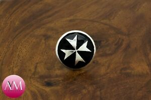 Sterling Silver MALTESE CROSS Lapel Pin - Silver on Solid Black