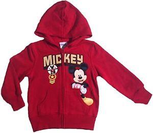 Disney Mickey Mouse Little Boys Toddler Zip Hoodie Sweatshirt 4T Red Face