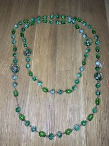 Rare Vintage Venetian Green Glass Beaded Necklace , Long Length