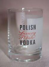 COLLECTIBLE  BARWARE  ADVERTISING  LUKSUSOWA  POLISH VODKA  SHOT GLASS  FROSTED