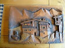 Vintage Folk Art Relief Carving Mountian Scene