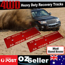 Pair Red Recovery Tracks Car Caravan 4WD ATV Off Road Tyre Ladder Sand Mud Snow