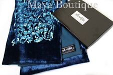 Teal Blue Scarf Sequin Velvet & Georgette Double Sided + Gift Box Maya Matazaro
